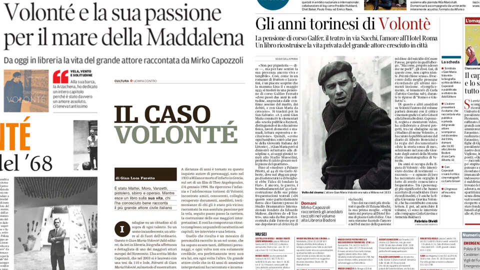 "Rassegna stampa ""Gian Maria Volonté"""